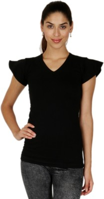 A N, E Casual, Sports, Lounge Wear Short Sleeve Solid Women's Black Top