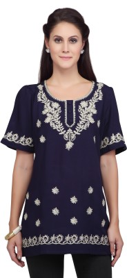 Viro Casual Short Sleeve Embroidered Women's Blue Top