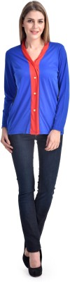 Shopping Queen Casual Full Sleeve Solid Women's Blue Top