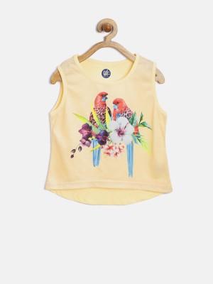 Yk Casual Sleeveless Printed Girl's Yellow Top