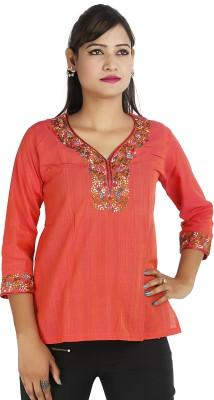 Ra Studio Casual, Festive 3/4 Sleeve Embroidered Women's Orange Top