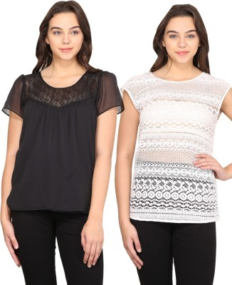 Nordic Bazaar Casual Short Sleeve, Cap sleeve Solid Women's Black, White Top