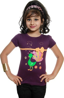 STRAWBERRY GIRL Casual Short Sleeve Printed Baby Girl,s Purple Top