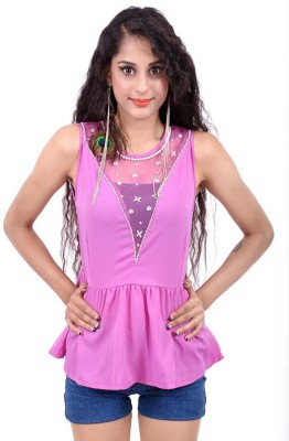 Palette Casual, Party Sleeveless Embroidered Women's Purple Top