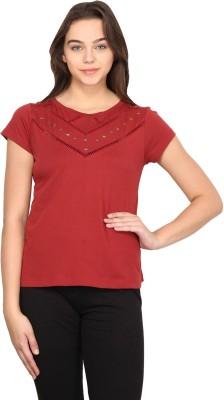 Nordic Bazaar Casual Short Sleeve Solid Women's Red Top