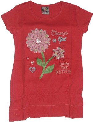 Red Rose Casual, Party, Festive Cap sleeve Applique Girl,s Orange Top