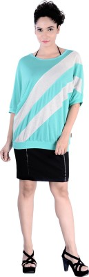 Divaz Fashion Casual, Party Short Sleeve Striped Women's Green Top