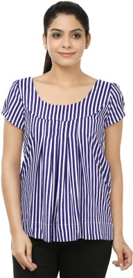 Jappshop Casual Short Sleeve Striped Women's Blue, White Top
