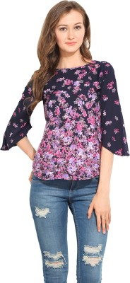 Albely Casual 3/4 Sleeve Printed Women's Multicolor Top