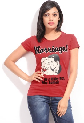 Comedy Central Casual Short Sleeve Printed Women's Red Top
