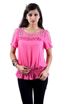 Envy Casual Short Sleeve Solid Women's Pink Top