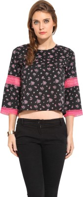 Rena Love Casual 3/4 Sleeve Floral Print Women's Black Top