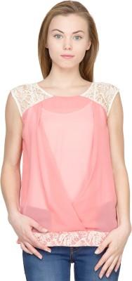 Latin Quarters Casual Sleeveless Self Design Women's Pink Top