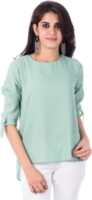 Pacific Casual, Formal Roll-up Sleeve Solid Women's Green Top