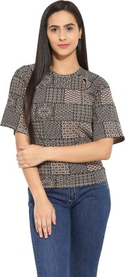 Why Knot Casual Short Sleeve Printed Women's Brown Top