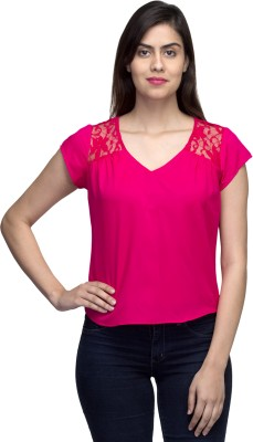 LY2 Casual Short Sleeve Solid Women,s Pink Top