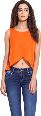 Pera Doce Casual Sleeveless Solid Women,s Orange Top