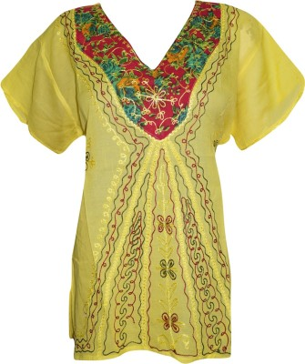 Indiatrendzs Casual Cap sleeve Embroidered Women's Yellow Top