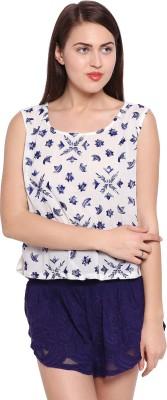 Ozel Casual Sleeveless Printed Women's Blue, White Top