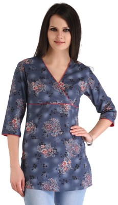 ZAIRE Casual 3/4 Sleeve Floral Print Women's Dark Blue, Red Top