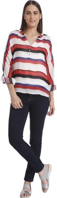 Vero Moda Casual Full Sleeve Striped Women's White Top