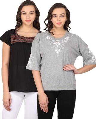 Nordic Bazaar Casual Short Sleeve Embroidered Women's Black, Grey Top