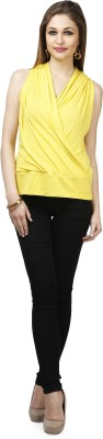 Glam & Luxe Casual Sleeveless Solid Women's Yellow Top