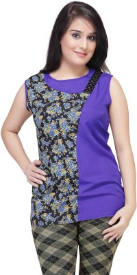 HERCOMPLETEWOMAN Casual Sleeveless Printed Women's Blue, Black Top