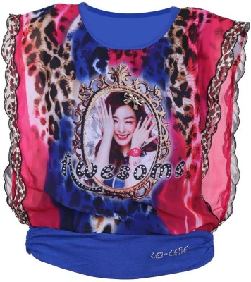 LEI CHIE Casual Sleeveless Graphic Print Girl's Blue Top