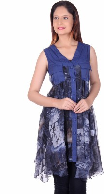 Sellsy Casual Sleeveless Graphic Print Women's Blue Top