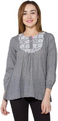 Vasstram Casual 3/4 Sleeve Checkered Women's Grey Top