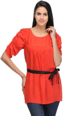 Visach Casual Short Sleeve Solid Women's Red Top
