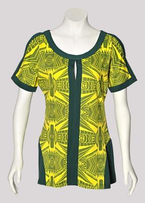 AfKa Casual Short Sleeve Printed Women's Dark Green, Yellow Top