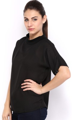 HRX by Hrithik Roshan Casual Short Sleeve Solid Women's Black Top