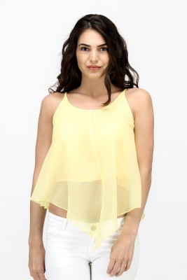 Satovira Party Sleeveless Solid Women's Yellow Top