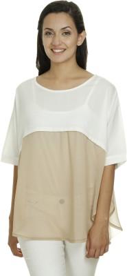 Meiro Formal 3/4th Sleeve Solid Women's White Top at flipkart