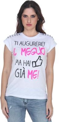 Fast n Fashion Casual Cap sleeve Printed Women's White Top