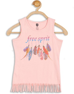612 League Casual Sleeveless Printed Girl's Pink Top