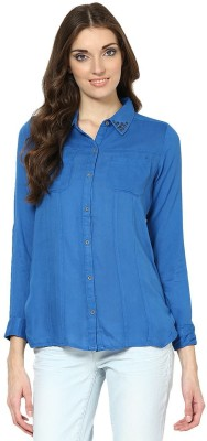 Prakum Casual Full Sleeve Solid Women,s Blue Top