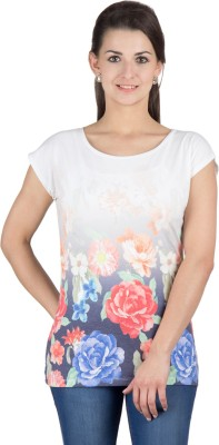Y&I Casual Short Sleeve Printed Womens White Top