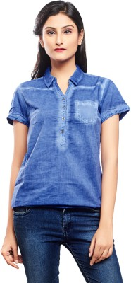 No Code Casual, Formal, Party, Lounge Wear, Sports Short Sleeve Solid Women's Blue Top