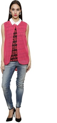 Sea Lion Casual Sleeveless Printed Women's Pink Top