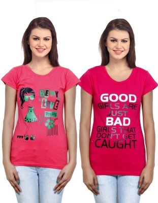IndiWeaves Casual Short Sleeve Printed Girl's Pink, Red Top
