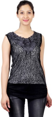 ASH Party Sleeveless Solid Women's Black Top