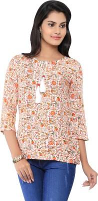 Liba Casual 3/4 Sleeve Printed Women's Orange Top