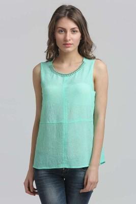 Moda Elementi Casual Sleeveless Solid Women's Light Green Top