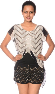Reme Party Short Sleeve Printed Women's Multicolor Top