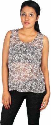 True Fashion Casual Sleeveless Printed Women's Grey Top