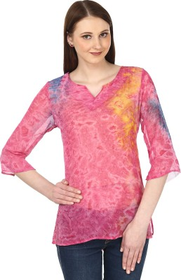 Sataro Casual, Party, Festive, Lounge Wear 3/4 Sleeve Printed Women's Pink, Orange Top