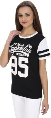 Svt Ada Collections Casual Short Sleeve Printed Women's Black Top